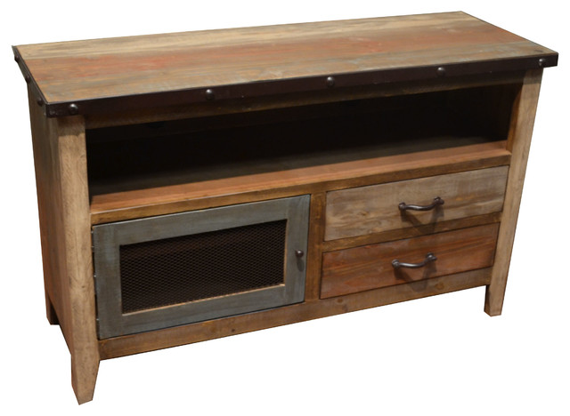 Rustic Farmhouse Style Multicolor Tv Stand Media Console