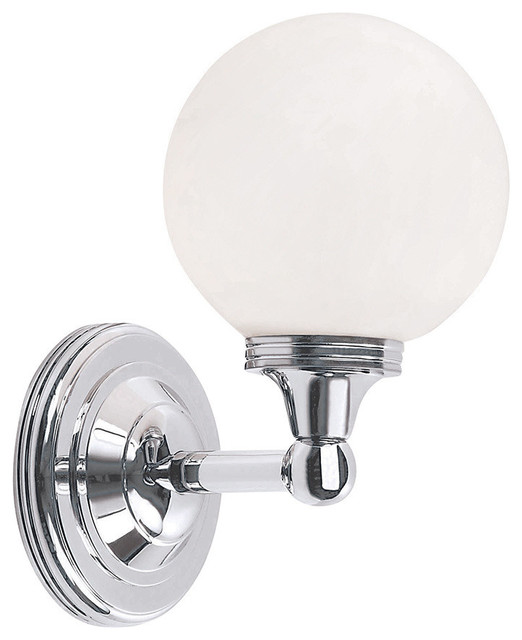 Austen Sphere Bathroom Wall Lantern, Polished Chrome