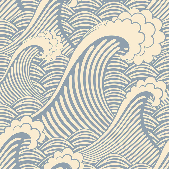 Waves Of Chic Removable Wallpaper, 2&x27;x10.5&x27; Panel.