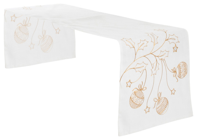 Gold Christmas Holiday Design Table Runner
