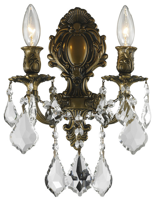 Traditional Elegance 2 Light Wall Sconce Crystal Clear Antique Bronze