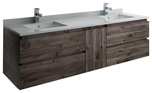 Formosa Wall Hung Double Sink Modern Bathroom Cabinet With Top & Sinks, 72""