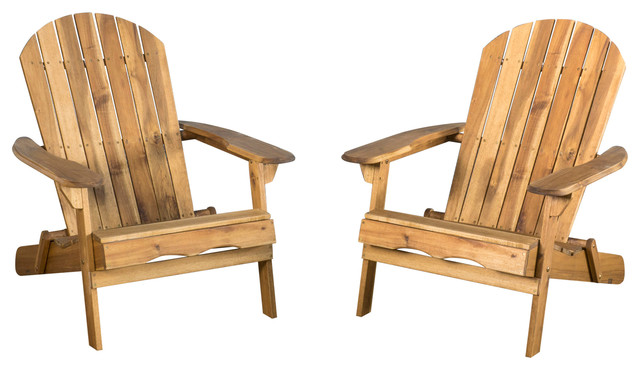 denise austin home milan outdoor folding adirondack chair set of 2 brown traditional