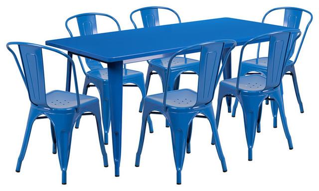 "Flash Furniture 7 Piece 31.5"" x 63"" Metal Dining Set in Blue"