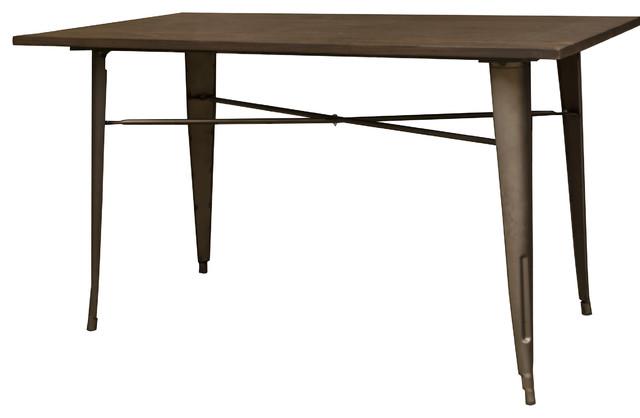 Amerihome Loft Rustic Gunmetal Metal Dining Table With Wood Top  Industrial Indoor Pub