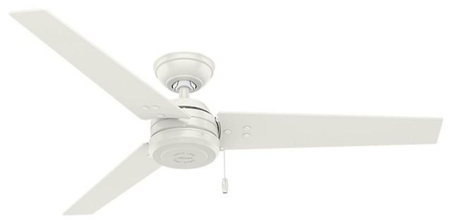 Hunter Cassius Fresh White Contemporary Damp Ceiling Fan W/ 3 Blades - 59263.