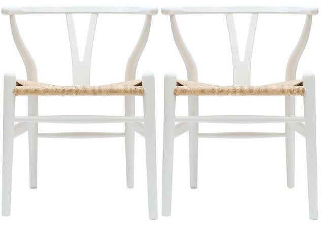 Modern Dining Chairs Wood Armchairs, Set Of 2, White.