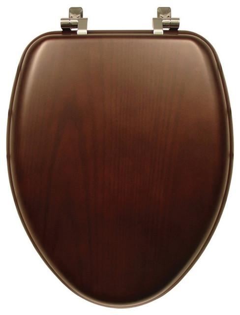 Bemis 19601CP 888 Natural Reflections Wood Elongated Toilet Seat Dark Walnut