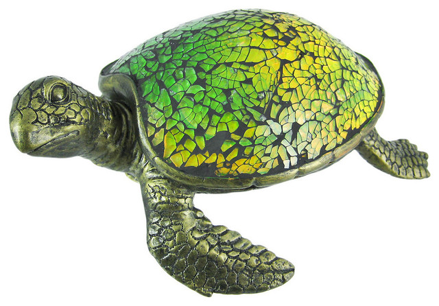 Cute Mosaic Green Glass Sea Turtle Accent Lamp Table Lamps By Zeckos