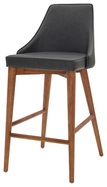 Erin Bar Stool, Antique Gray With Walnut Legs by New Pacific Direct Inc.