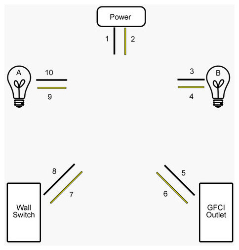 Bathroom Lights And Receptacles On Same Circuit how to wire two lights and an outlet on the same circuit