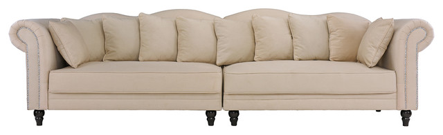 Classic Large Chesterfield Linen Sofa With Traditional Scroll Arm, Beige.
