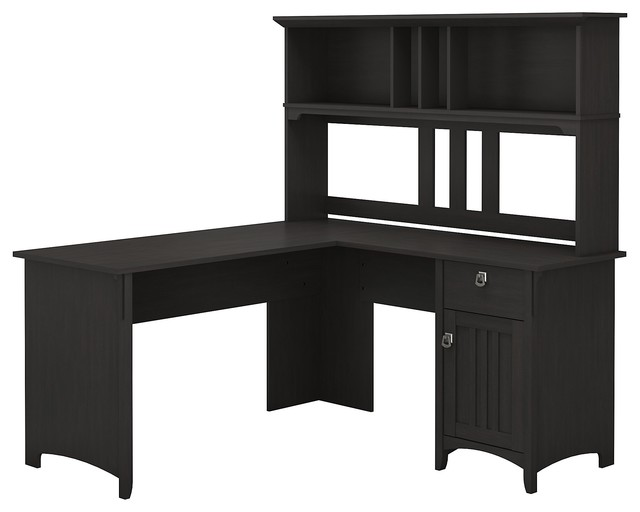 60 Bush Furniture Salinas L Shaped Desk With Hutch Vintage Black