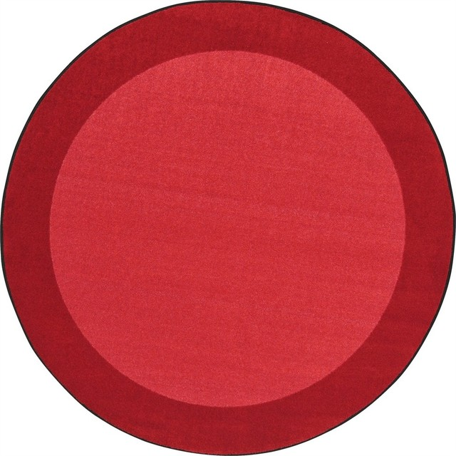 Joy Carpets Kid Essentials, Infants And Toddlers All Around Rug, Red, 5&x27;4 Round.