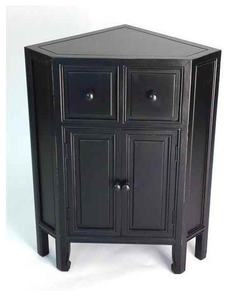 Suchow Corner Cabinet Black Traditional Accent Chests