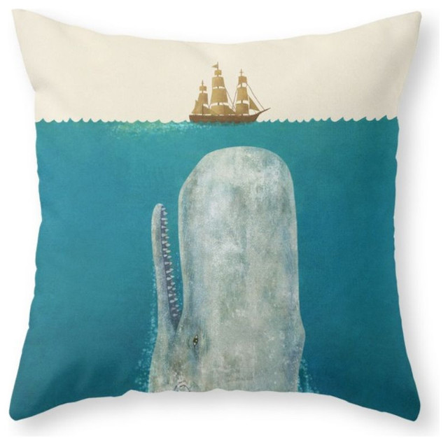 Beach Style Pillows : The Whale Throw Pillow - Beach Style - Decorative Pillows - by Society6