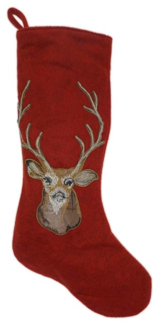 Heather Felt And Faux Leather Deer Head Stocking Red