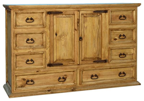 Rustic Grande Dresser With Cabinet.