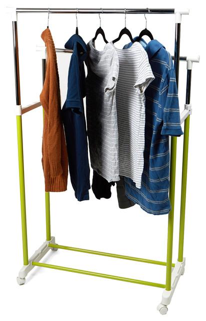 Metal Double Rolling Garment Rack, Green.