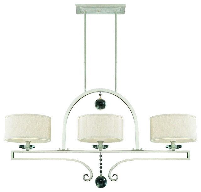 Savoy house rosendal 3 light linear chandelier silver sparkle transitional kitchen island