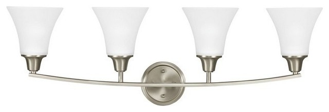Brushed Nickel 4 Light Bathroom Vanity Wall Lighting Bath: Metcalf 4-Light Bath Vanity Brushed Nickel Satin Etched