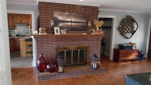 Spruce up brick fireplace