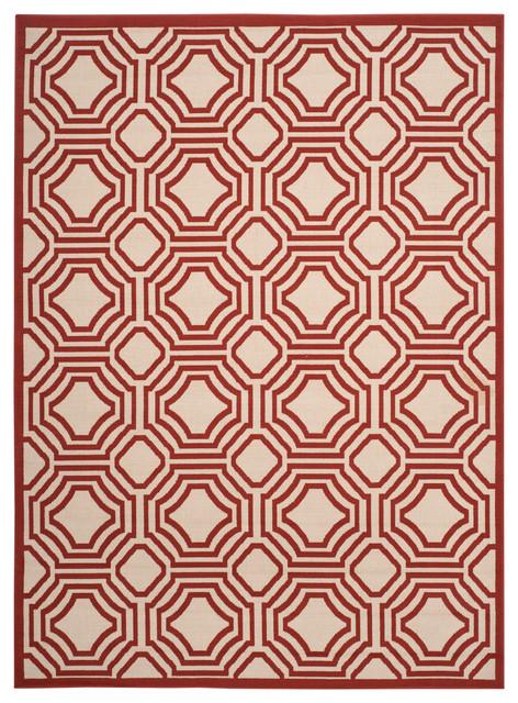 Safavieh Veranda Vers352 2841 Red Creme Rug Contemporary