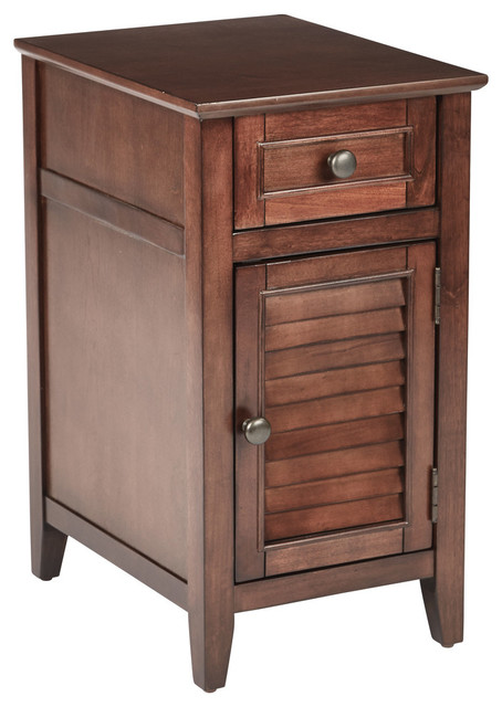 Brooke Chair Side Table in Chestnut Finish, Fully Assembled  transitional-side-tables-