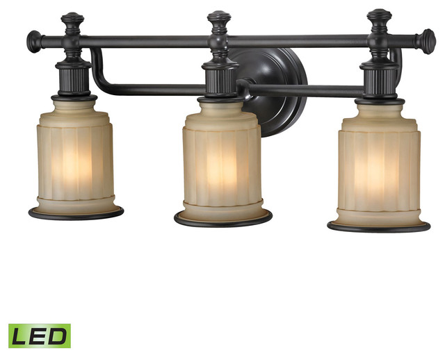 Hampton Bay 3 Light Oil Rubbed Bronze Vanity Light With: Elk Lighting Acadia Collection 3 Light Bath In Oil Rubbed
