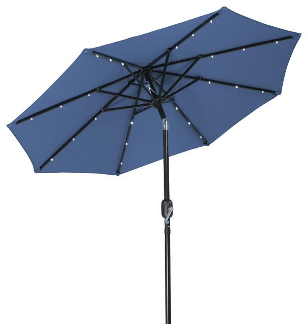 solar led patio umbrella blue outdoor umbrellas by trademark. Black Bedroom Furniture Sets. Home Design Ideas