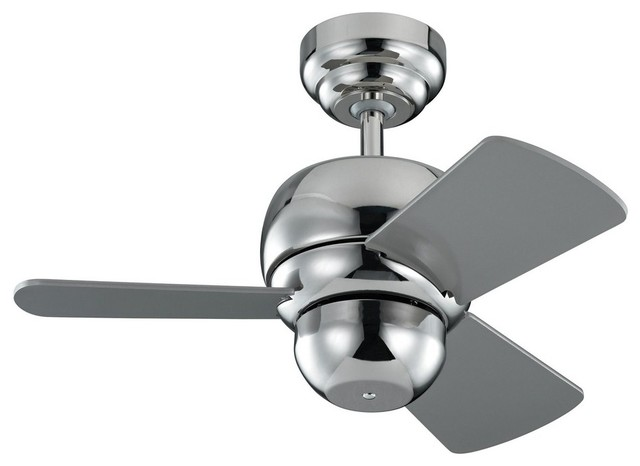 "Micro 24"" Ceiling Fan Polished Nickel Silver Blade."