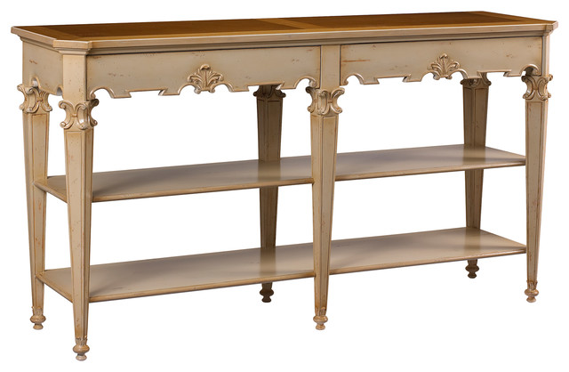 Claudel French Country Cherry Wood Ivory Console Table