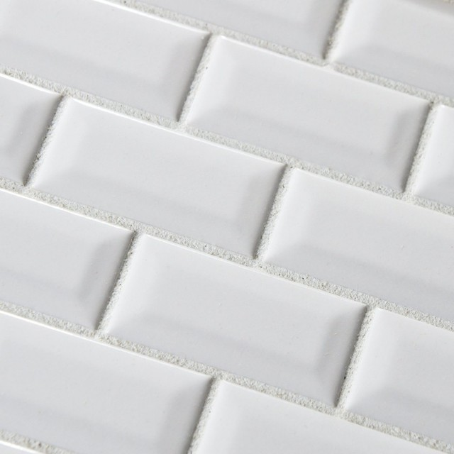 Sample Of White Subway Bevel Glossy Ceramic