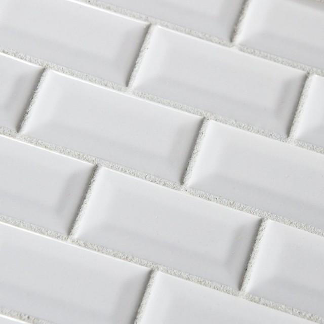 3 x6 white subway bevel glossy ceramic modern wall