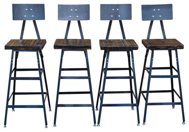 Hopkins Reclaimed Wood Bar Stools Set Of 4 Clear Coat 18