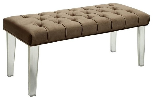 Furniture Of America Mahony Fabric Bench With Acrylic Legs, Brown.