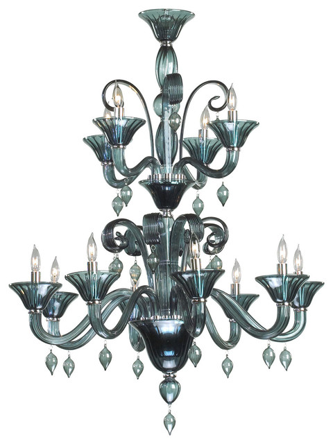 Treviso 5 light dark blue smoke murano glass style chandelier treviso blue grey 12 light murano glass style chandelier aloadofball Choice Image