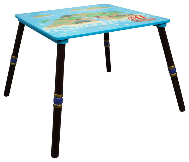 Pirate Island Handcrafted Kids Wooden Table Contemporary