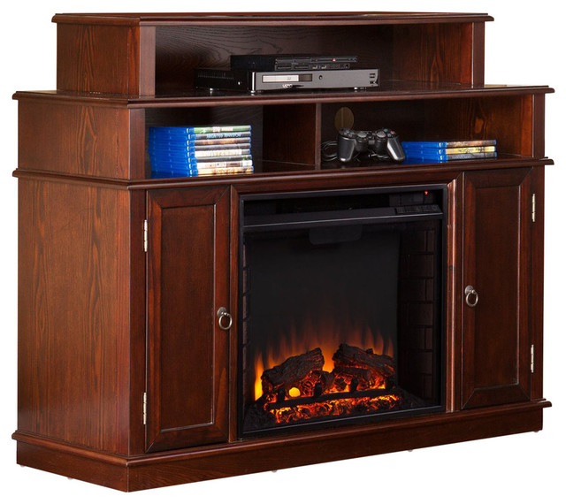Southern Enterprises Lynden Electric Fireplace Tv Stand Espresso Transitional Indoor