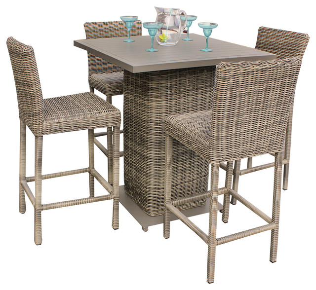 Royal Outdoor Wicker Pub Table With Bar Stools, 5 Piece Set Tropical Outdoor