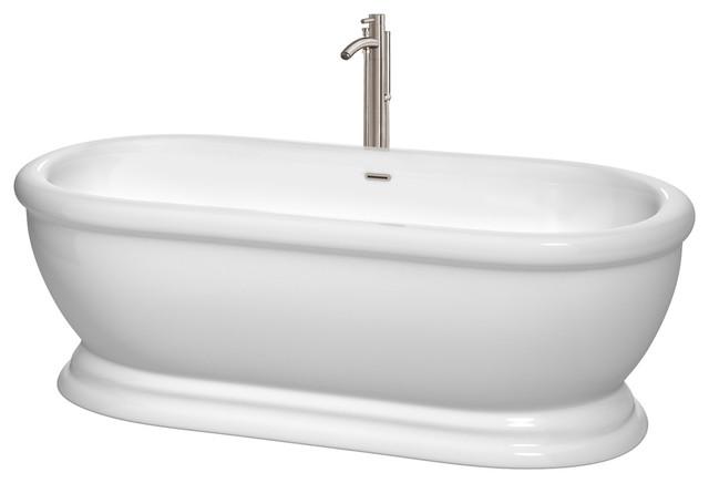 "Mary 68"" Freestanding Bathtub Floor Mounted Faucet, Brushed Nickel."