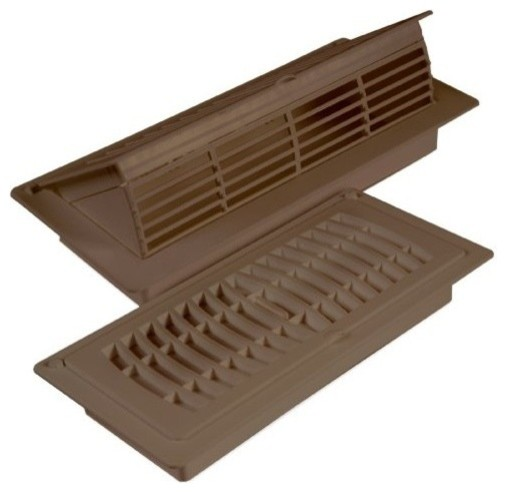 Floor / Ceiling Pop Up Register And Deflector, 4X10 In., Tan (