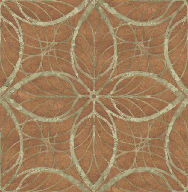 Wallpaper Retro Modern Gerometric Lattice Metallic Ink Gold and Taupe