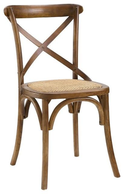 Modway Gear Dining Side Chair, Walnut.