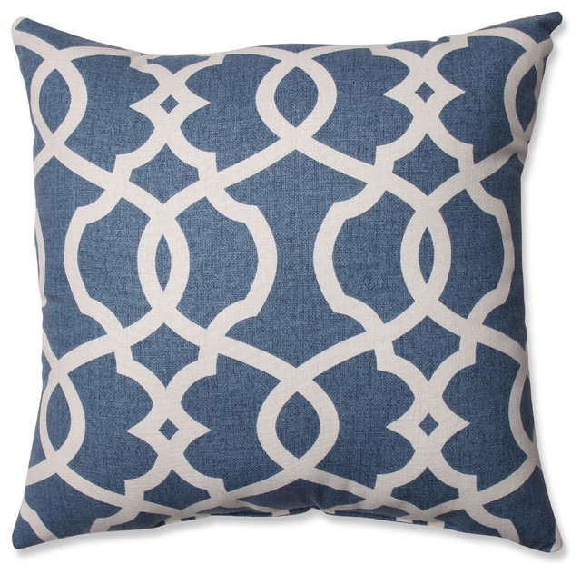 "Lattice Damask Blue 16.5"" Throw Pillow, Blue"