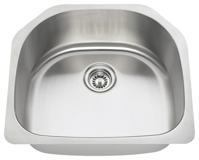 Single Bowl Stainless Steel Kitchen Sink, 16-Gauge, Sink Only