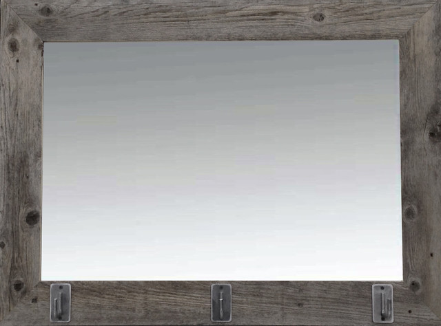 Wall Mirror With Hooks rustic barn wood mirror with iron hooks - rustic - wall mirrors