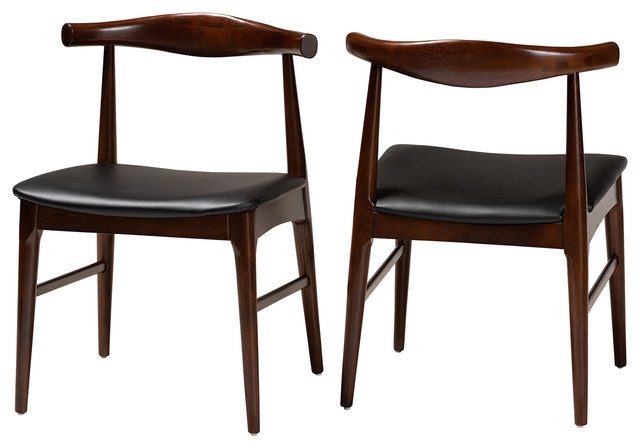 Eira Mid Century Modern Black Faux Leather Walnut Wood Dining Chairs Set Of 2 Midcentury Dining Chairs By Baxton Studio