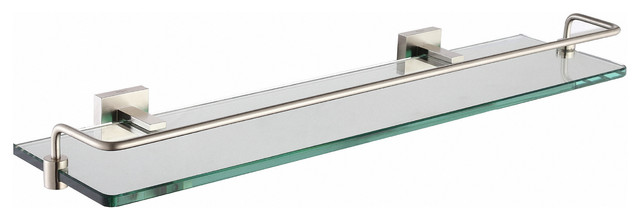 Kraus Aura Bathroom Accessories, Shelf With Railing Brushed Nickel.