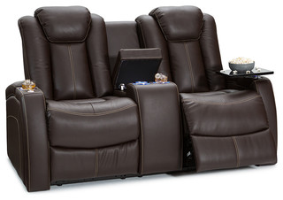 Lane Republic Home Theater Power Leather Loveseat, Brown